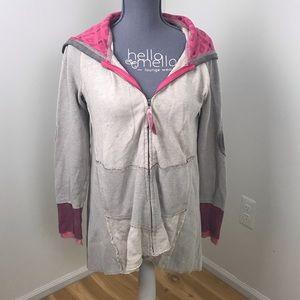 Scrapbook the buckle white patchwork zip up hoodie
